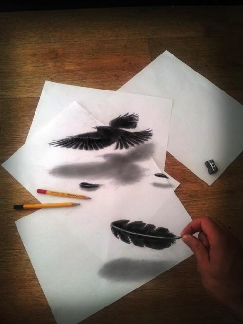 Трёхмерный оптический обман в рисунках
