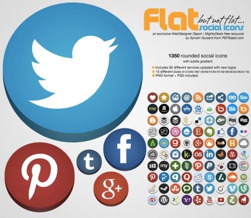Бесплатности: «плоские» да не плоские закругленные иконки социальных сетей