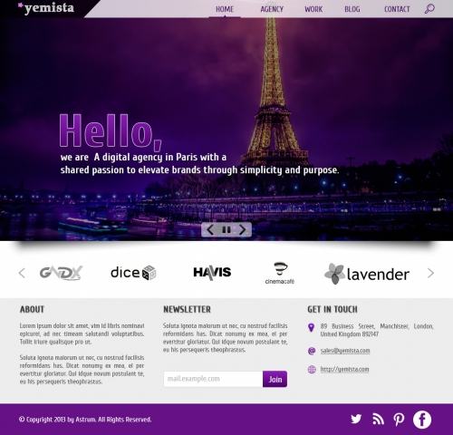 Бесплатный шаблон веб-сайта агентства цифровых разработок с PSD-файлом