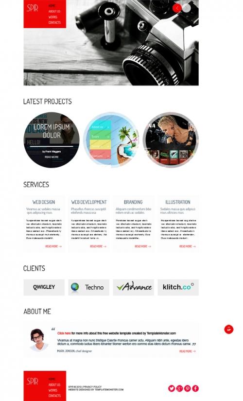 Бесплатный HTML5-шаблон для портфолио. Слайд-шоу jQuery Camera включен