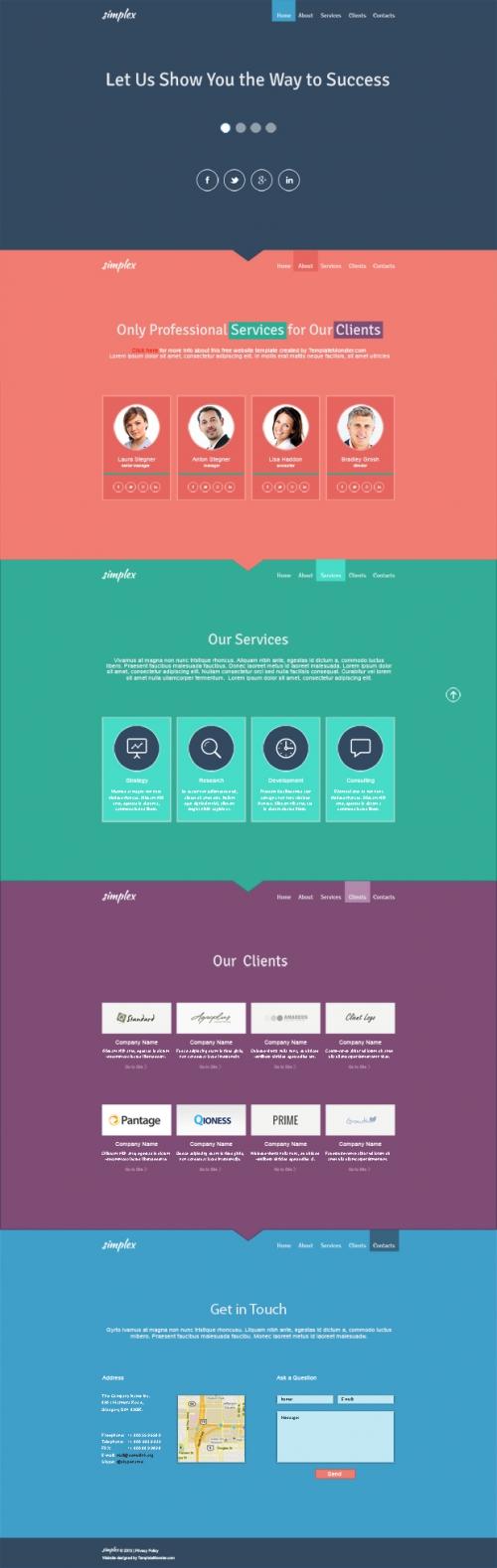 Бесплатный одностраничный шаблон для бизнес-сайта в плоском стиле
