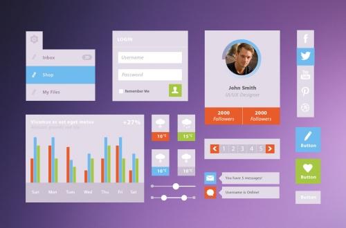 UI-комплект плоских элементов в формате PSD – бесплатный комплект для оформления пользовательского интерфейса
