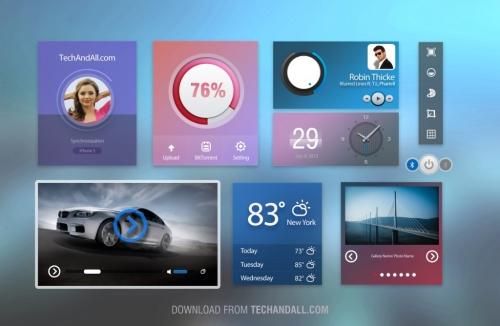 UI-набор в холодных цветах в формате PSD