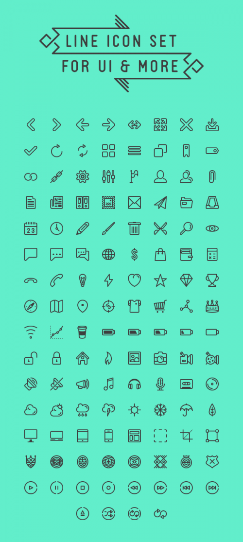 Комплект контурных иконок для пользовательского интерфейса