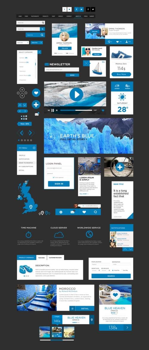 Бесплатный сувенир: UI-комплект в плоском дизайне (PSD)