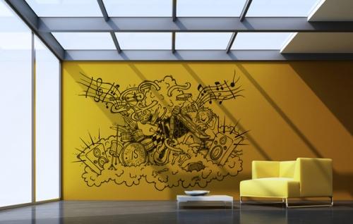 Примеры оригинального и современного дизайна настенных виниловых наклеек