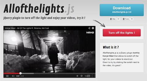 jQuery-плагин для удобства видеопросмотра: Allofthelights.js