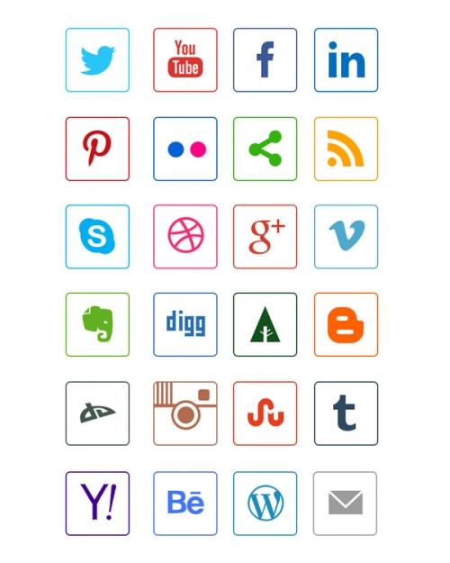 Контурные иконки социальных сетей