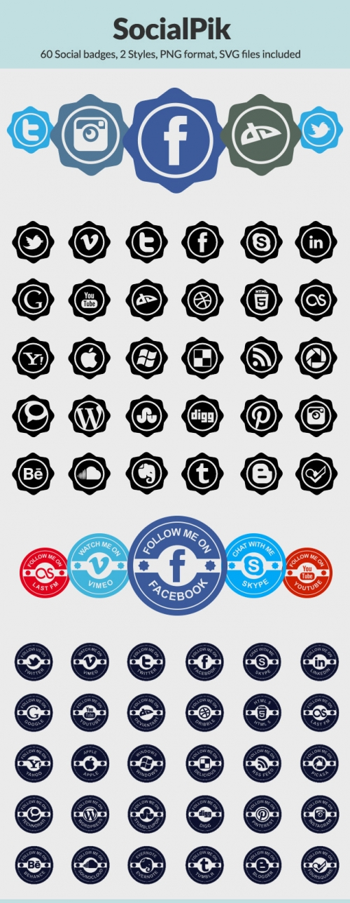 Комплект иконок SocialPik: 60 бесплатных социально-сетевых иконок