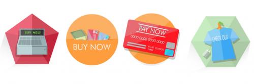 Бесплатные интерактивные кнопки для интернет-магазина в плоском стиле