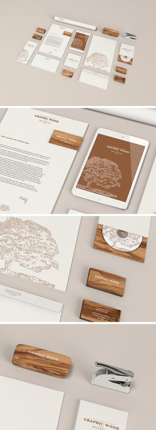 Макет набора канцтоваров «под дерево» – Wood Edition