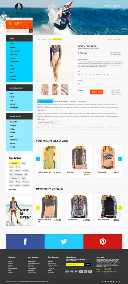 Surfhouse: бесплатный PSD-шаблон для интернет-магазина