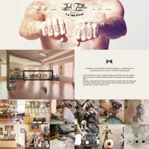 InkTattoo: PSD-шаблон с эффектом параллакса для веб-сайта студии татуировки