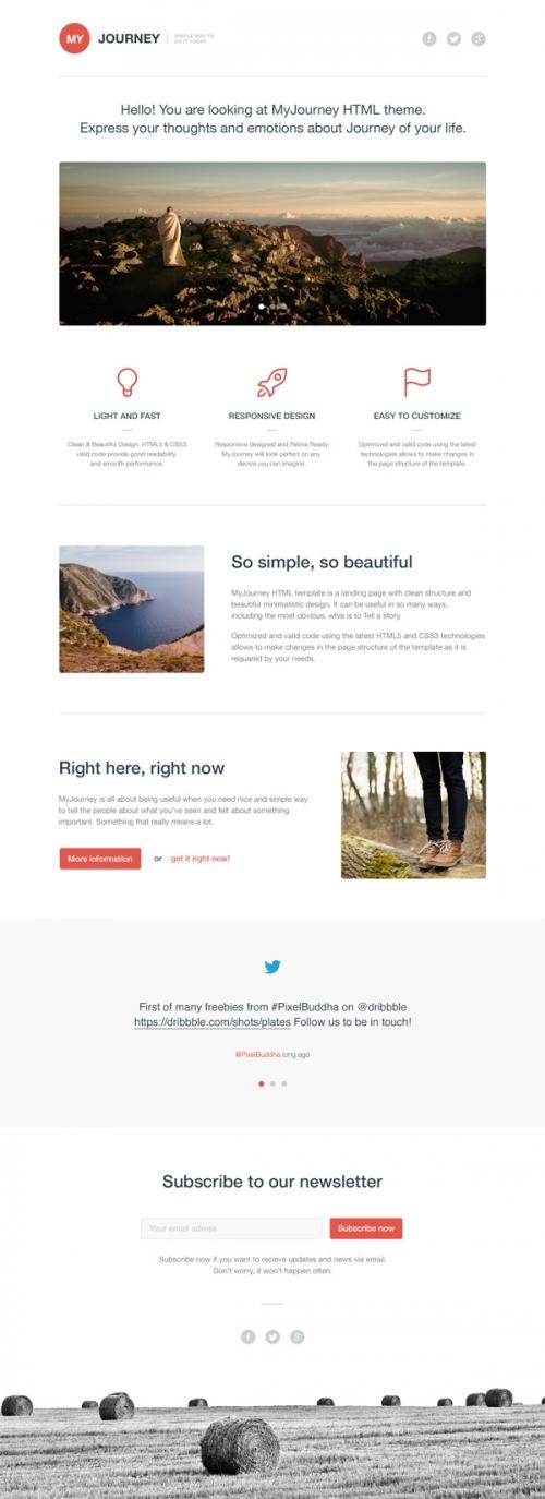 MyJourney: бесплатный PSD/HTML-шаблон