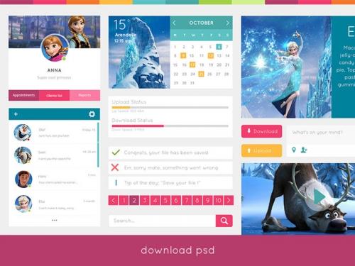 Бесплатный набор UI-элементов в простом плоском стиле