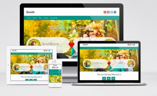 Zenith: бесплатный адаптивный шаблон для свадебного сайта на Wordpress