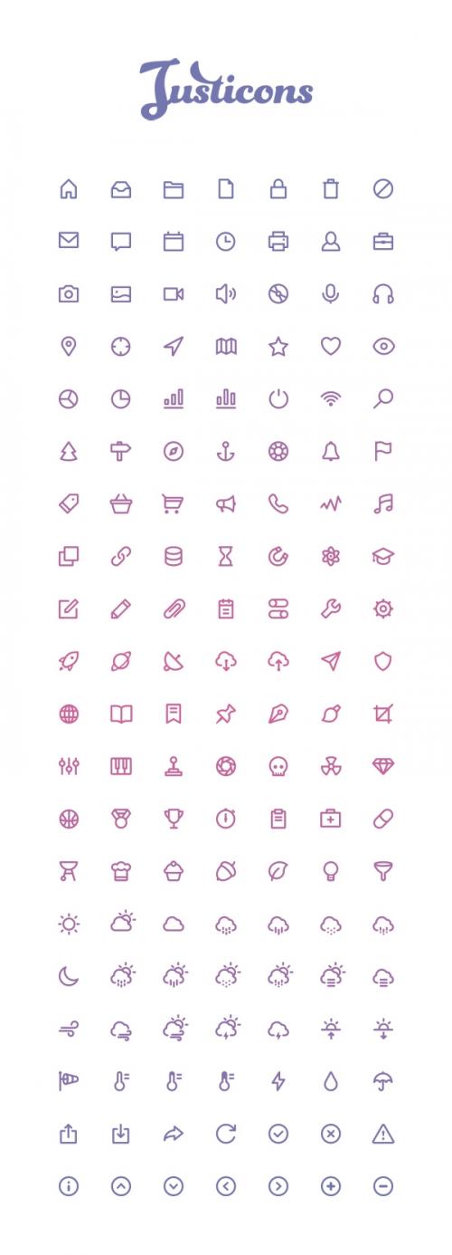 Justicons: 140 бесплатных контурных иконок
