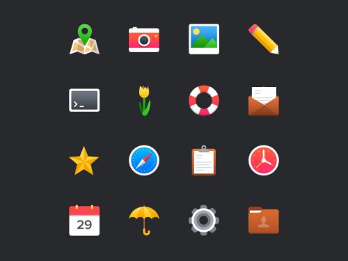 Бесплатный набор пестрых иконок в плоском стиле