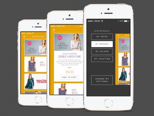 Бесплатный «плоский» шаблон торгового приложения для iPhone в PSD