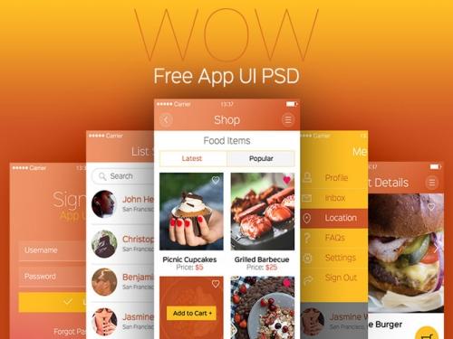 WOW: Бесплатный PSD пользовательского интерфейса современного мобильного приложения