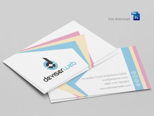 Бесплатный шаблон цветной визитки